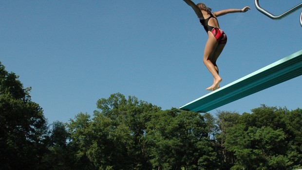 Risk taking stress jump off diving board